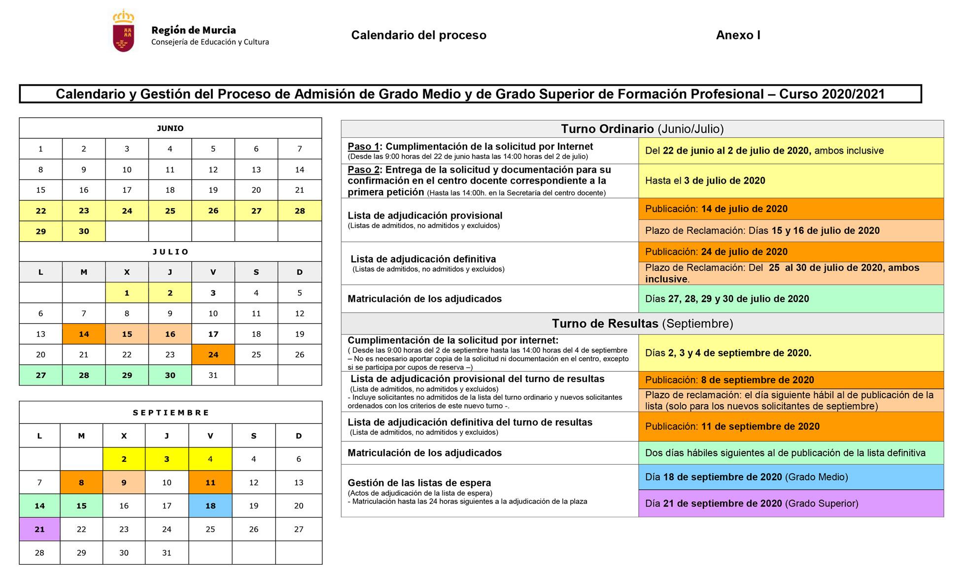 calendario admisiones curso 2020-2021