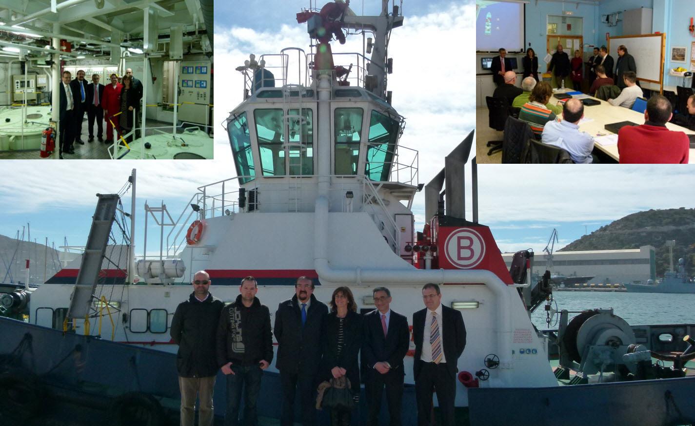 profesores con miembros empresa boluda y barco al fondo